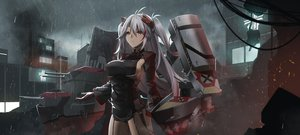 Rating: Safe Score: 74 Tags: anthropomorphism ashisi azur_lane breasts building city long_hair orange_eyes prinz_eugen_(azur_lane) rain sideboob uniform water weapon white_hair User: Nepcoheart
