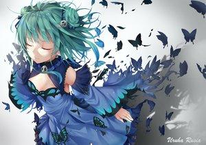 Rating: Safe Score: 55 Tags: butterfly dress green_hair hololive matutoki_nara05 short_hair uruha_rushia User: sadodere-chan