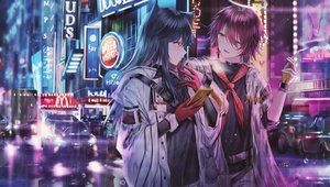 Rating: Safe Score: 48 Tags: 2girls arknights building car cigarette city exusiai_(arknights) junpaku_karen long_hair mcdonald's night phone short_hair texas_(arknights) User: BattlequeenYume