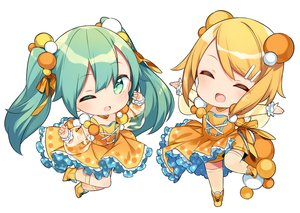 Rating: Safe Score: 9 Tags: 2girls blonde_hair chibi dress fang green_eyes green_hair hatsune_miku kagamine_rin lolita_fashion long_hair sama see_through short_hair twintails vocaloid white wink User: otaku_emmy