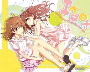 Rating: Safe Score: 99 Tags: 2girls blush brown_eyes brown_hair dress kogino_chuuya misaka_mikoto necklace ribbons shirai_kuroko skirt to_aru_kagaku_no_railgun to_aru_majutsu_no_index watermark User: Wiresetc
