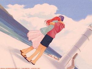 Rating: Safe Score: 15 Tags: clouds hug lighthouse long_hair purple_hair red_hair short_hair shorts skirt sky tagme takamichi water User: Oyashiro-sama