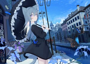 Rating: Safe Score: 140 Tags: animal_ears building butterfly catgirl clouds dress flowers mikisai original sky tail umbrella water User: BattlequeenYume
