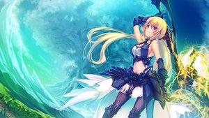 Rating: Safe Score: 56 Tags: blonde_hair landscape long_hair original red_eyes scenic tenmaso twintails weapon User: BattlequeenYume