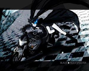 Rating: Safe Score: 23 Tags: bikini_top black_hair black_rock_shooter blue_eyes boots cape kuroi_mato kuroikisi long_hair motorcycle twintails User: anaraquelk2