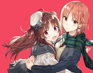Rating: Safe Score: 55 Tags: 2girls bow brown_hair hat hug long_hair original red red_eyes scarf seifuku shirako_miso short_hair shoujo_ai skirt User: RyuZU