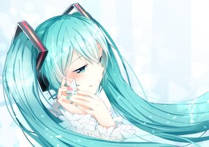 Rating: Safe Score: 54 Tags: aqua_hair hatsune_miku long_hair tagme_(artist) twintails vocaloid User: luckyluna