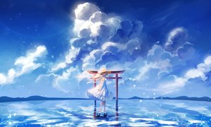 Rating: Safe Score: 25 Tags: animal barefoot bow brown_hair cat clouds dress hanako151 hat long_hair original red_eyes reflection ribbons sky summer_dress torii water User: BattlequeenYume
