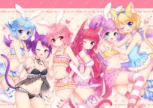 Rating: Safe Score: 73 Tags: aliasing animal_ears aqua_eyes aqua_hair blonde_hair blush bow bra braids breasts bunnygirl catgirl cat_smile choker cleavage dorothy_west elbow_gloves fang flat_chest gloves green_eyes group houjou_sophie leona_west long_hair manaka_lala minami_mirei mitsuba_choco navel panties pink_eyes pink_hair pripara purple_eyes purple_hair red_eyes ribbons see_through short_hair shorts tail thighhighs toudou_shion twintails underwear wink yellow_eyes User: luckyluna