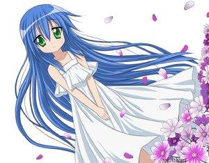 Rating: Safe Score: 49 Tags: blue_hair dress flowers green_eyes izumi_kanata long_hair lucky_star petals watermark white User: CgGirl