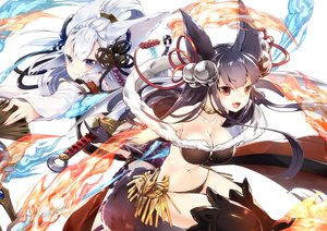 Rating: Safe Score: 181 Tags: 218 2girls animal_ears black_hair breasts cleavage fire gloves granblue_fantasy long_hair navel socie_(granblue_fantasy) thighhighs white_hair yuel_(granblue_fantasy) User: Flandre93
