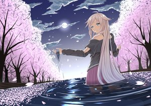 Rating: Safe Score: 73 Tags: blonde_hair blue_eyes cherry_blossoms clouds ia long_hair moon petals sky sunset tsuhiki_koyomi vocaloid water wet User: humanpinka