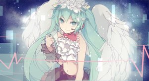 Rating: Safe Score: 118 Tags: aqua_eyes aqua_hair hatsune_miku nisoku_hokou_(vocaloid) project_diva twintails vocaloid wings xiaohan6th User: FormX