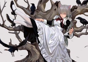 Rating: Safe Score: 60 Tags: animal animal_ears apron bird braids feathers fkey gray_hair long_hair maid original pantyhose purple_eyes signed tree twintails User: BattlequeenYume