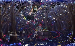 Rating: Safe Score: 29 Tags: anthropomorphism braids butterfly enothela forest grass long_hair moon original polychromatic ribbons tree User: PrimalAgony