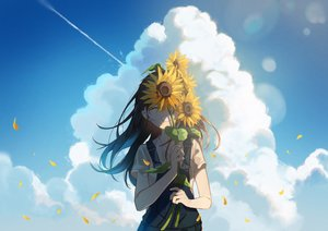 Rating: Safe Score: 64 Tags: clouds flowers long_hair omutatsu original petals sky sunflower User: FormX