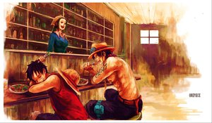 Rating: Safe Score: 80 Tags: food makino_(one_piece) monkey_d_luffy one_piece portgas_d_ace sleeping tsuyomaru User: FormX