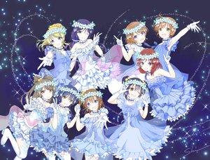 Rating: Safe Score: 45 Tags: aqua_eyes ayase_eri blonde_hair blue_hair brown_eyes brown_hair dress gloves green_eyes group headdress hoshizora_rin koizumi_hanayo kousaka_honoka long_hair love_live!_school_idol_project minami_kotori nishikino_maki ponytail purple_eyes ribbons shino_(shinderera) short_hair signed sonoda_umi thighhighs toujou_nozomi wink yazawa_nico User: RyuZU