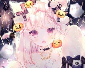 Rating: Safe Score: 108 Tags: animal_ears blush bow catgirl close cropped fang halloween kotamun long_hair necklace original pink_hair tail User: BattlequeenYume