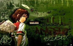 Rating: Safe Score: 14 Tags: brown_hair graffiti green_eyes haibane_renmei halo logo rakka school_uniform short_hair watermark wings User: 秀悟