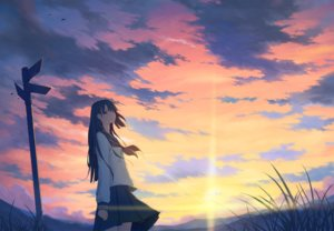 Rating: Safe Score: 60 Tags: black_eyes black_hair clouds crying grass landscape long_hair original scenic seifuku sky sunset tagme_(artist) tears User: BattlequeenYume