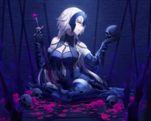 Rating: Safe Score: 57 Tags: armor blonde_hair breasts cleavage cropped fate/grand_order fate_(series) flowers jeanne_d'arc_alter jeanne_d'arc_(fate) long_hair petals rimuu rose skull sword weapon yellow_eyes User: mattiasc02