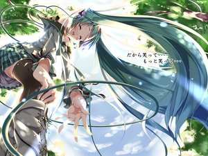 Rating: Safe Score: 88 Tags: aqua_hair boots clouds hatsune_miku headphones long_hair piromizu ribbons skirt sky thighhighs tree twintails vocaloid User: tutocalle