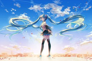 Rating: Safe Score: 22 Tags: animal aqua_eyes aqua_hair bird boots building city clouds hatsune_miku kh_(kh_1128) long_hair petals scenic skirt sky tattoo thighhighs tie twintails vocaloid waifu2x zettai_ryouiki User: RyuZU