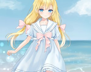 Rating: Safe Score: 60 Tags: aqua_eyes blonde_hair blush bow clouds cropped dress lolita_fashion long_hair original pointed_ears rimo sky twintails waifu2x water User: otaku_emmy