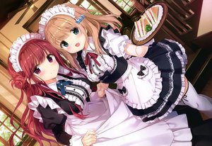 Rating: Safe Score: 53 Tags: 2girls apron blue_eyes breasts brown_hair food kimishima_ao long_hair maid original purple_eyes red_hair scan thighhighs waitress User: Nepcoheart
