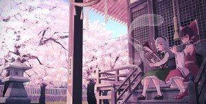 Rating: Safe Score: 67 Tags: 2girls building cherry_blossoms flowers flute hakurei_reimu headband instrument japanese_clothes konpaku_youmu kujira-kousen miko myon shrine stairs touhou tree User: FormX