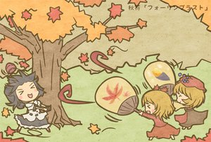 Rating: Safe Score: 44 Tags: aki_minoriko aki_shizuha akihiyo autumn leaves shameimaru_aya touhou User: kawaiiasuka