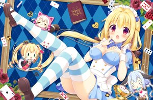 Rating: Safe Score: 91 Tags: alice_in_wonderland alice_(wonderland) aoi_yun blonde_hair blush book breasts cat_smile chain cheshire_cat dress flowers long_hair original queen_of_hearts red_eyes rose thighhighs twintails waifu2x white_rabbit User: RyuZU