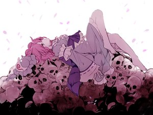 Rating: Safe Score: 37 Tags: barefoot dress hat joniko1110 petals pink_hair polychromatic saigyouji_yuyuko short_hair skull touhou User: otaku_emmy