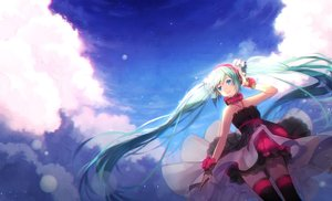 Rating: Safe Score: 166 Tags: aqua_eyes aqua_hair choker clouds hakusai hatsune_miku headband long_hair sky thighhighs twintails vocaloid wristwear User: Flandre93