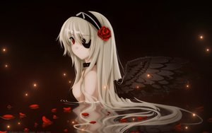 Rating: Safe Score: 262 Tags: blonde_hair breasts collar flowers headband long_hair misaki_kurehito original petals red_eyes vector water wings User: gnarf1975