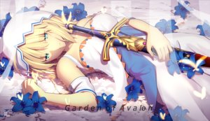 Rating: Safe Score: 73 Tags: aqua_eyes artoria_pendragon_(all) blonde_hair breasts dress fate_(series) fate/stay_night flowers magicians saber short_hair sword water watermark weapon User: RyuZU