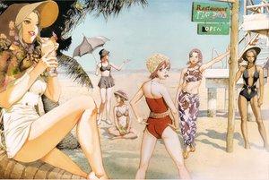 Rating: Safe Score: 32 Tags: beach bikini_top elvy_hadhiyat hat hotaru_kim kisaragi_quon nanamori_sayoko rahxephon shitou_haruka shitou_megumi short_hair skirt sky swimsuit tagme umbrella User: Licran