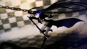 Rating: Safe Score: 55 Tags: black_hair black_rock_shooter blue_eyes boots chain katana kuroi_mato long_hair scar shorts sword twintails weapon User: Brynhild