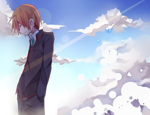 Rating: Safe Score: 44 Tags: all_male brown_hair clouds little_busters! male natsume_kyousuke saku_qq school_uniform short_hair sky tie User: STORM
