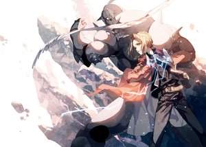Rating: Safe Score: 111 Tags: all_male alphonse_elric armor blonde_hair braids chain edward_elric fullmetal_alchemist long_hair male ser323 User: Flandre93