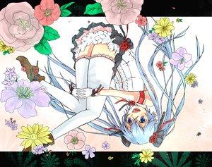 Rating: Safe Score: 27 Tags: flowers gloves hatsune_miku kitiyosi thighhighs twintails vocaloid User: HawthorneKitty