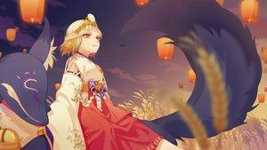 Rating: Safe Score: 11 Tags: animal bell blonde_hair clouds fox headdress japanese_clothes kimono limao_jun miketsu_(onmyouji) mirror onmyouji red_eyes short_hair sky sunset User: otaku_emmy