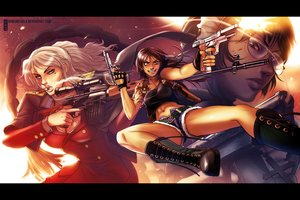 Rating: Safe Score: 57 Tags: balalaika black_lagoon blonde_hair blood blue_eyes boots breasts brown_eyes brown_hair cleavage cross glasses gloves gun long_hair navel ponytail revy roberta ruben_de_vela shorts smoking tattoo watermark weapon User: STORM