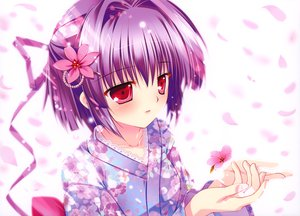 Rating: Safe Score: 92 Tags: close flowers japanese_clothes mikeou original petals pink_chuchu purple_hair red_eyes User: Wiresetc