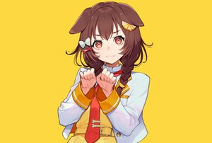 Rating: Safe Score: 37 Tags: animal_ears braids brown_eyes brown_hair cat_smile doggirl dress hololive inugami_korone school_uniform tie twintails yellow yuu_(higashi_no_penguin) User: otaku_emmy