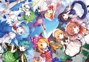 Rating: Safe Score: 78 Tags: aqua_eyes aqua_hair blonde_hair bow brown_eyes brown_hair cirno clouds clownpiece daiyousei dress etarnity_larva fairy fang fire green_eyes green_hair group hat kneehighs lily_white lolita_fashion luna_child petals ponytail purple_eyes red_eyes risui_(suzu_rks) short_hair signed skirt sky socks star_sapphire sunny_milk touhou wings wink User: HanaNeko