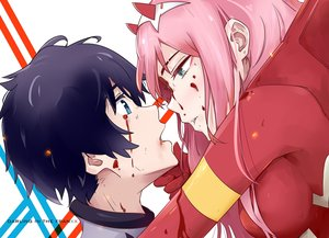 Rating: Safe Score: 64 Tags: aqua_eyes black_hair blood bodysuit close darling_in_the_franxx hiro_(darling_in_the_franxx) horns long_hair male pink_hair short_hair tagme_(artist) zero_two User: RyuZU