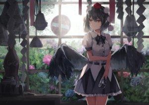 Rating: Safe Score: 99 Tags: black_hair bow camera rain red_eyes shameimaru_aya short_hair skirt thkani touhou water wings User: RyuZU