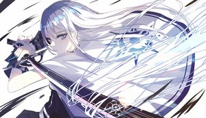Rating: Safe Score: 89 Tags: beckzawachi cape gray_eyes gray_hair katana long_hair magic original polychromatic sword weapon User: RyuZU